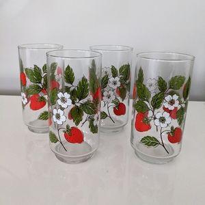 Vintage Strawberry Print Tall Glasses Set of 4